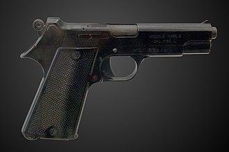 Pistolet automatique modèle 1935S - Pistol model 1935 S on display at the Musée de l'Armée.