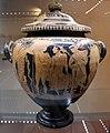 Pittore di Sarteano, stamnos etrusco con coperchio, con due giovani nudi, ragazza seminuda, satirello e menadi, 340 ac ca., da dintorni di perugia 01.jpg