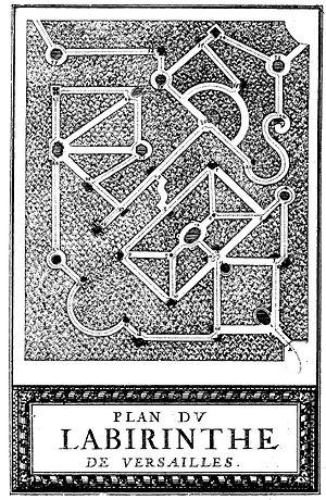 "The labyrinth of Versailles - ""Plan du Labirinte de Versailles"", printed at the Royal Press, Paris and illustrated by Sebastien le Clerc"