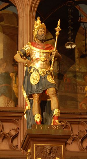 Augusta Raurica - A statue of Plancus, the city's founder, in the city hall of Basel, Switzerland.