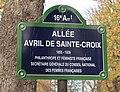 Plaque allée Avril-de-Sainte-Croix, jardin du Ranelagh, Paris 16e.jpg