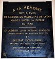 Plaque en mémoire de victimes de la guerre de 1870-1871 à la faculté de médecine de Lyon.JPG
