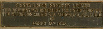 Sierra Leone Brewery Limited - A Brass plaque recording the opening of the Sierra Leone Brewery by Sir Milton Margai on 16 March 1963
