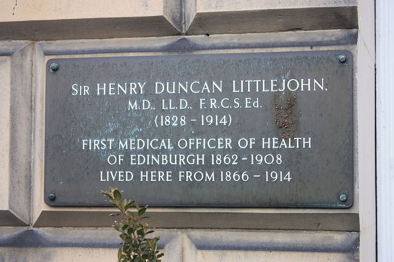 Plaque to Henry Duncan Littlejohn at 24 Royal Circus, Edinburgh.JPG