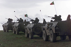 Portuguese Army Chaimite armoured vehicles in Bosnia.