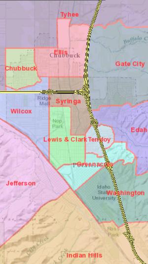 Pocatello/Chubbuck School District - Image: Pocatello Elementary Boundaries