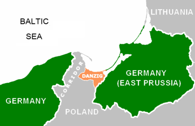 Danzigkorridoren, det polska området mellan Tyskland och Danzig,