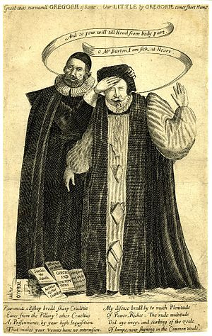 Trial of Archbishop Laud - This 1645 satirical print depicts Archbishop William Laud and Puritan Henry Burton. Burton's ears have been cut off as punishment for criticizing Laud. Their dialogue references Laud's impending beheading.