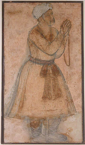 Dua - Portrait of the Mughal Emperor Akbar invocation of a Dua prayer.