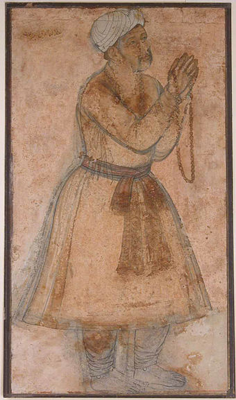 Portrait of the Mughal Emperor Akbar invocation of a Dua prayer. Portrait of Emperor Akbar Praying.jpg