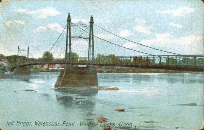 PostcardWindsorLocksCTTollBridgeWarehousePoint1910