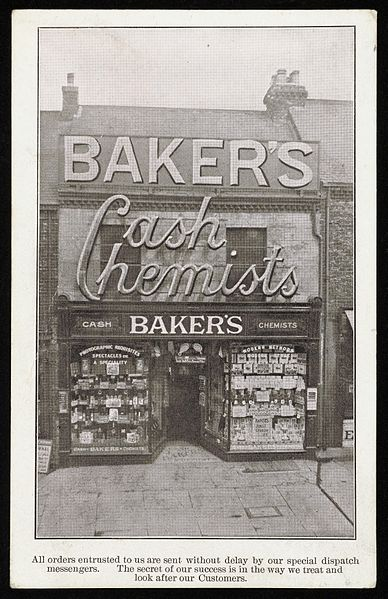 File:Postcard advertising Baker's cash chemists and opticians Wellcome L0044869.jpg