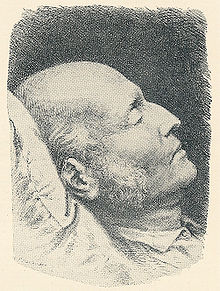 A picture of Poul Martin Møller's death mask.