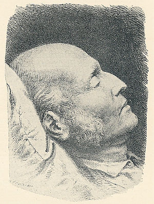 Poul Martin Møller - Poul Martin Møller on his deathbed. Lithography of the death mask.