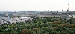 Strahov Stadium as seen from Petřín lookout tower