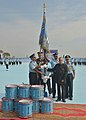 Pranab Mukherjee awarding the Standards to 115 Helicopter Unit and 26 Squadron of Indian Air Force, at Tezpur, in Assam on November 21, 2014. The Chief of the Air Staff, Air Chief Marshal Arup Raha is also seen.jpg