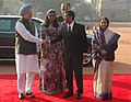 Pratibha Devisingh Patil and the Prime Minister, Dr. Manmohan Singh at the ceremonial reception of the President of the Republic of Maldives, Mr. Mohamed Nasheed and Mrs. Laila Ali at Rashtrapati Bhavan in New Delhi (1).jpg