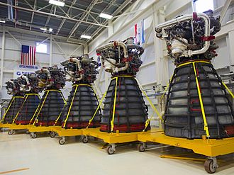 Space Shuttle main engine - The 6 RS-25Ds used during STS-134 and STS-135 in storage at Kennedy Space Center