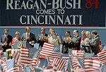 President Reagan during a trip to Cincinnati, Ohio at a Reagan-Bush Rally at Fountain Square (cropped).jpg
