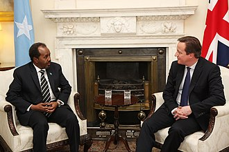 Foreign relations of Somalia - Prime Minister David Cameron with H.E. Mr Hassan Sheikh Mohamud, President of Somalia in Downing Street, 4 February 2013..