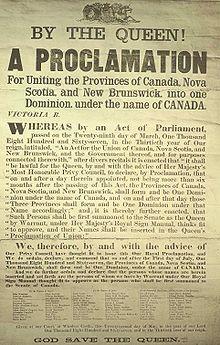 Document sur lequel est inscrite la proclamation du Canada.