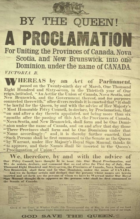 Proclamation Canadian Confederation