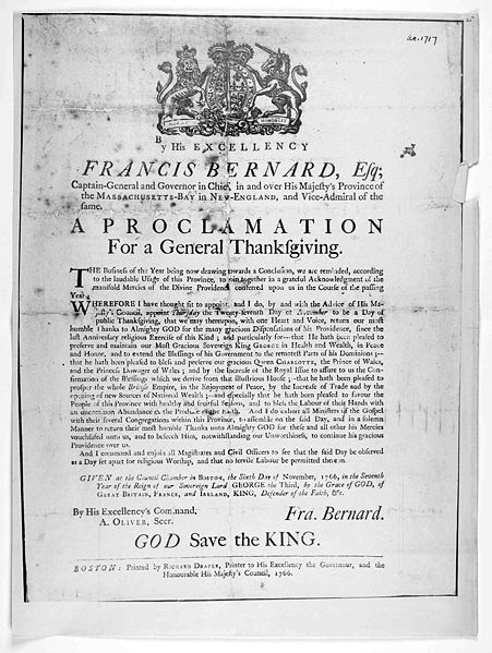 Proclamation for a General Thanksgiving Governor Francis Bernard 1766