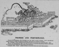 Promise and Performance Political Cartoon Andrew Carnegie sitting on bags of money Homestead Strike 1892.png