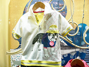 shirt with pug design, photographed in Madrid,...