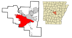 Location in Pulaski County, Arkansas