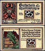 Quedlinburg 25 Pfennig RS Klopstocks Geburtshaus (Rückseite).jpg
