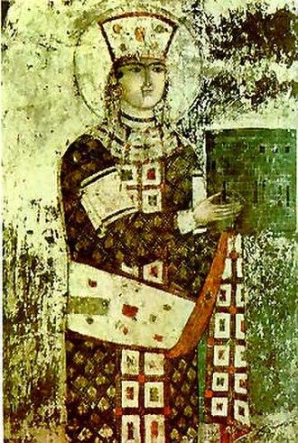 Vardzia - Image: Queen Tamar Vardzia fresco