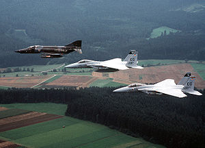 58th Fighter Squadron - A German RF-4E with two USAF F-15As of the 58th TFS, in 1982.