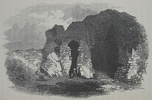 Lihou - 19th-century drawing of the priory ruins