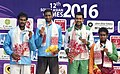 Ramkumar Ramanathan of India won Gold Medal, Saketh Myneni of India won Silver Medal and AUH Qureshi of Pakistan, S. Dissanayake of Sri Lanka won Bronze Medal in Men's singles Tennis, at the 12th South Asian Games-2016.jpg