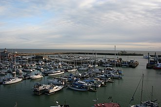 Port of Ramsgate - View of the inner and outer marina from land, at high tide.