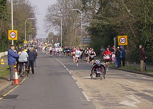 Reading Half Marathon - In 2007, the marathon passes down Liebenrood Road.