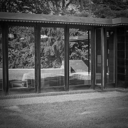 Rear bedroom windows - Weltzheimer Johnson House by Architect Frank Lloyd Wright - Oberlin Ohio