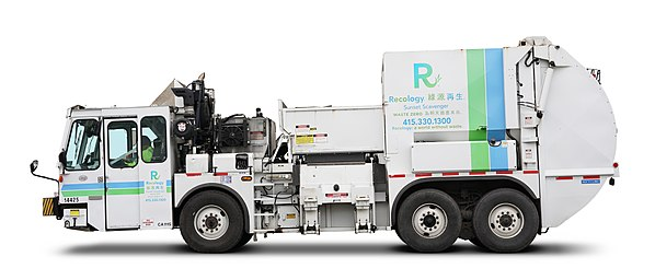A Lōdal Evo T-28 waste collection truck operated by Recology in San Francisco.