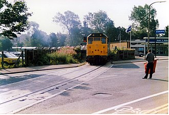 Ribble Steam Railway - A train crossing Strand Road towards the docks in 1989