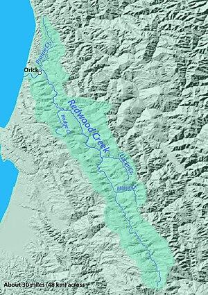 Redwood Creek (Humboldt County) - Image: Redwoodcreekmap