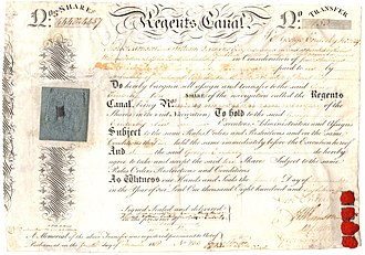 Regent's Canal - Regent's Canal: Transfer certificate of 10 shares, issued 1. December 1818