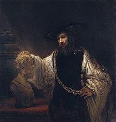 Rembrandt: Aristoteles peinzend bij een borstbeeld van Homerus