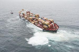 Rena oil spill - Rena aground on Astrolabe Reef