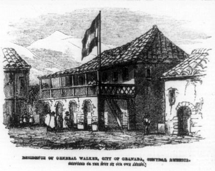 "President Walker's house in Granada, Nicaragua. On October 12, 1856, during the siege of Granada, Guatemalan officer Jose Victor Zavala ran under heavy fire to capture Walker's flag and bring it back to the Central American coalition army trenches shouting ""Filibuster bullets don't kill!"". Zavala survived this adventure unscathed. Residence of Gen. William Walker, Granda cph.3a00914.jpg"