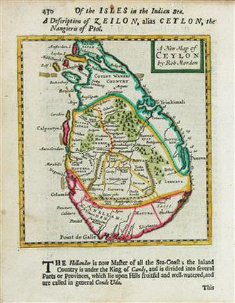 Trincomalee - Robert Morden's 1688 map of the island with Trincomalee on the northeast coast.
