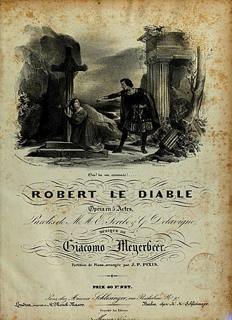 Johann Peter Pixis - Cover of the vocal score for Meyerbeer, Robert le diable, with piano reduction by Pixis (1831).
