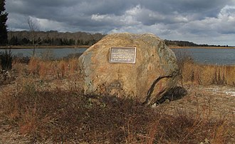 Conscience Point National Wildlife Refuge - Image: Rock indicating first settlers (11672538396)