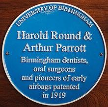 blue plaque commemorating round & parrott's patent, at birmingham dental  hospital  the airbag