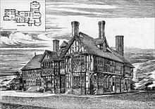A two-storey timber-framed house with gables, dormers and tall chimney stacks. Inset in the top left corner of the drawing is a plan of the ground floor.